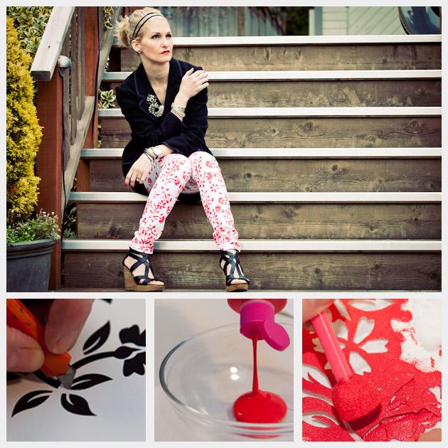 Floral printed jeans DIY