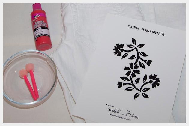 Floral printed jeans DIY Supplies