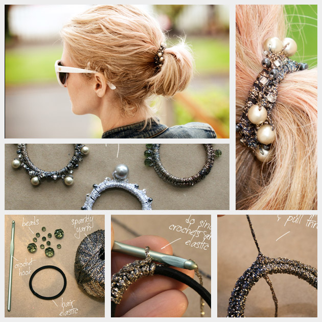 beaded hair elastics diy
