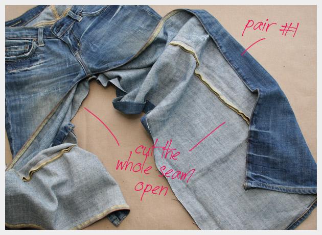 Recycled denim maxi skirt DIY tutorial