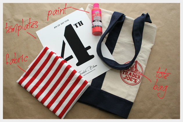 Supplies to Make a 4th of July Tote Bag