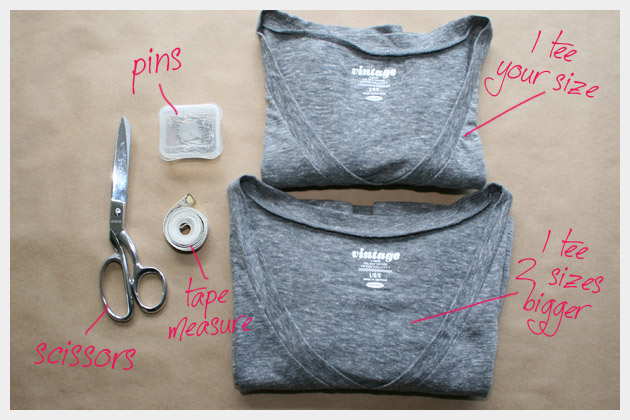 Supplies For Your T Shirt Dress DIY