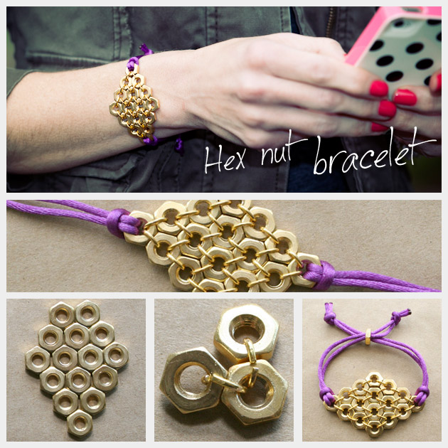 Do it yourself accessories trinkets in bloom diy fashion blog hex nut bracelet diy solutioingenieria Image collections