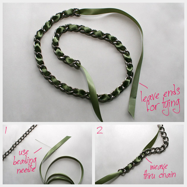 DIY RIbbon Chain Wrap Bracelet