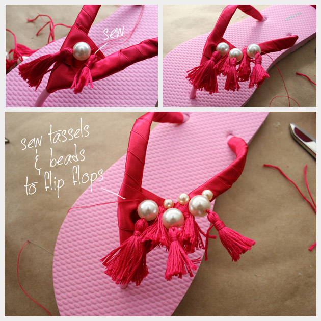 How to make Tassel Beaded Flip Flops
