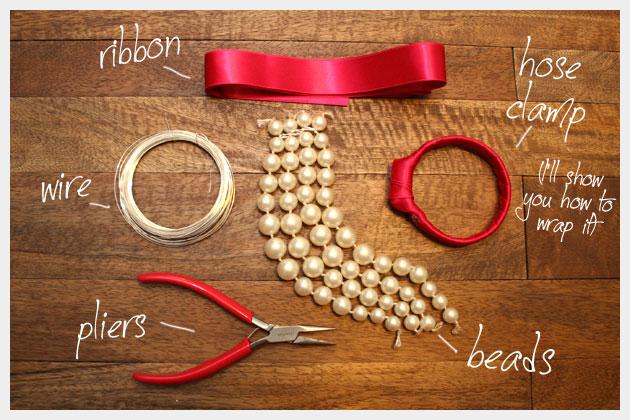 Beaded Bow Bracelet DIY Supplies