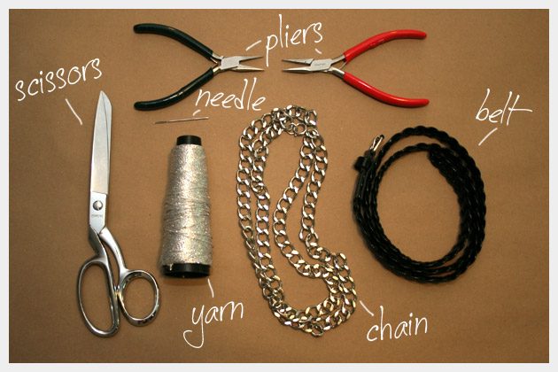 Chain Belt Necklace DIY Supplies