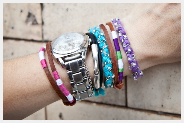 DIY Bracelets in Bonbons by Lion Brand Yarns