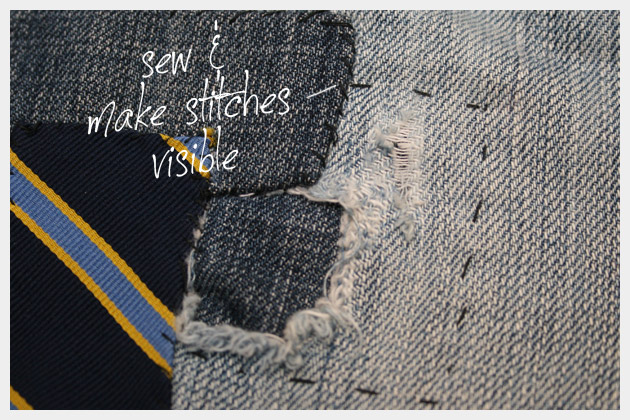 DIY Patched Jeans Detail
