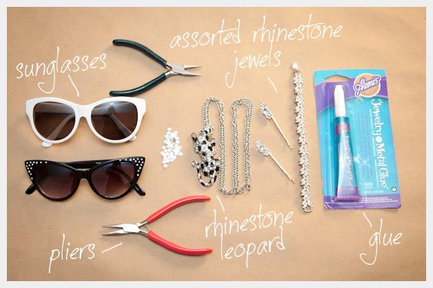 DIY Rhinestone Sunglasses Supplies