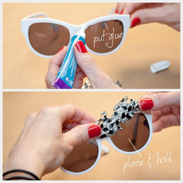 DIY Rhinestone Leopard Sunglasses