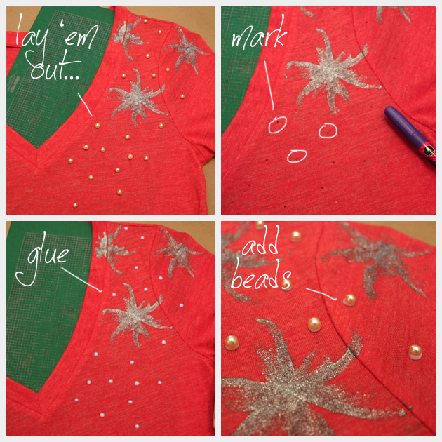 DIY Embellished T-Shirt with Beads