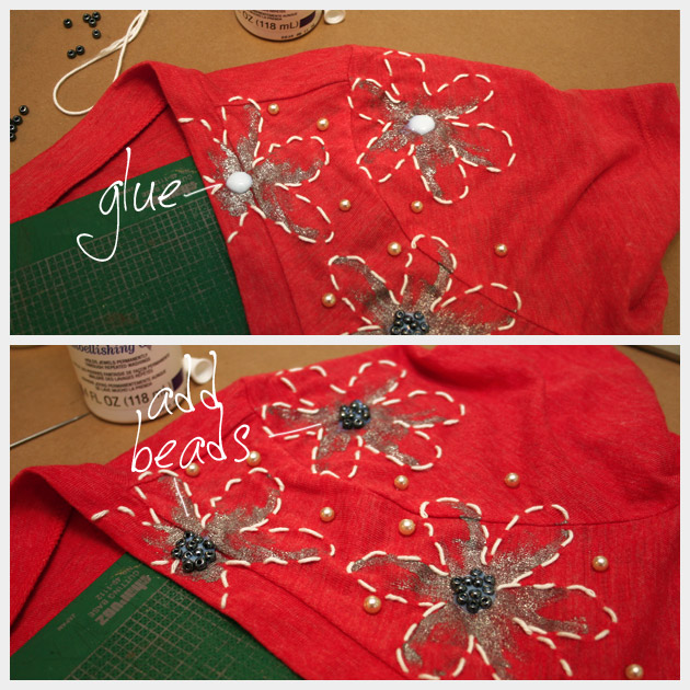 Hand Painted DIY Embellished T-Shirt with Beads