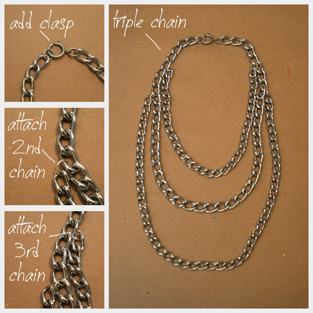 Triple Chain Statement Necklace DIY Tutorial