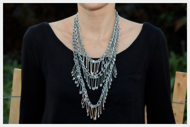 Triple Chain Statement Necklace DIY Close Up