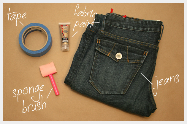 Tuxedo Stripe Jeans DIY Supplies