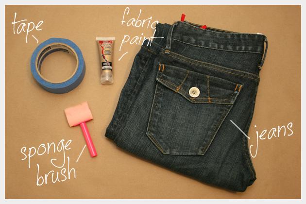 Tuxedo Stripe Jeans DIY Supplies