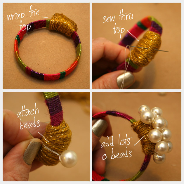 Wrapped and Beaded DIY Bracelet Instructions