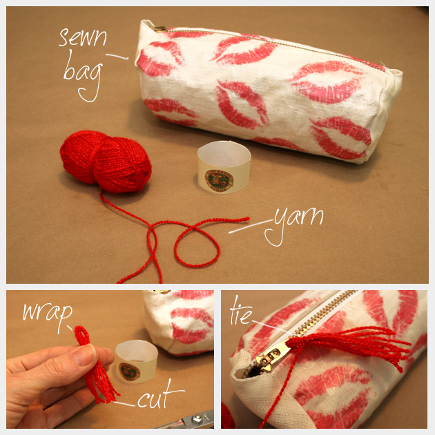 DIy Printed Make Up Bag Tassel