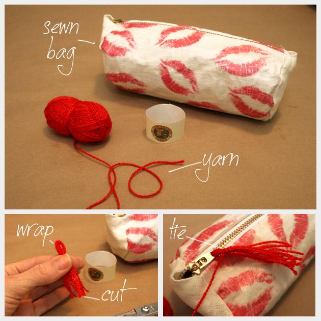 DIy Printed Make Up Bag Tassel