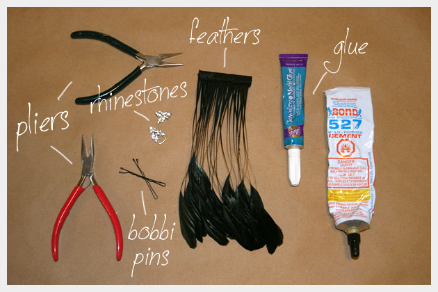 Feather Hair Pins DIY Supplies