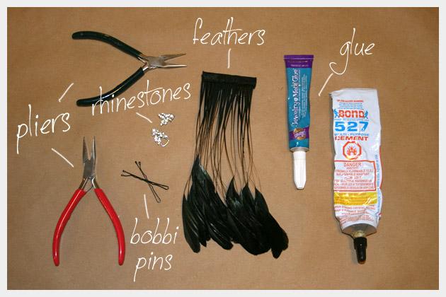 Feather Hair Pins DIY Supplies