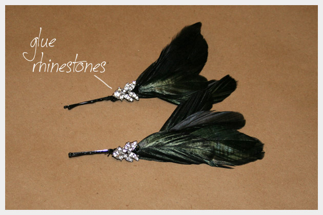 Rhinestone Feather Hair Pins DIY