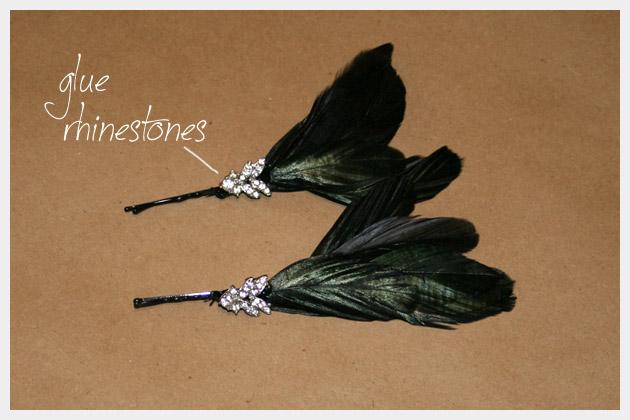 Rhinestone Feather Hair Pins DIY