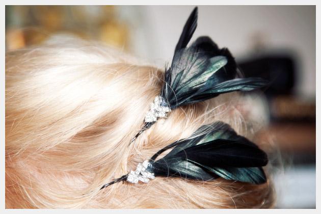 Feather Hair Pins DIY Close Up