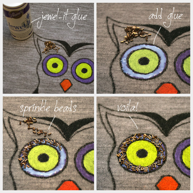 Owl Sweater DIY Adding Beads