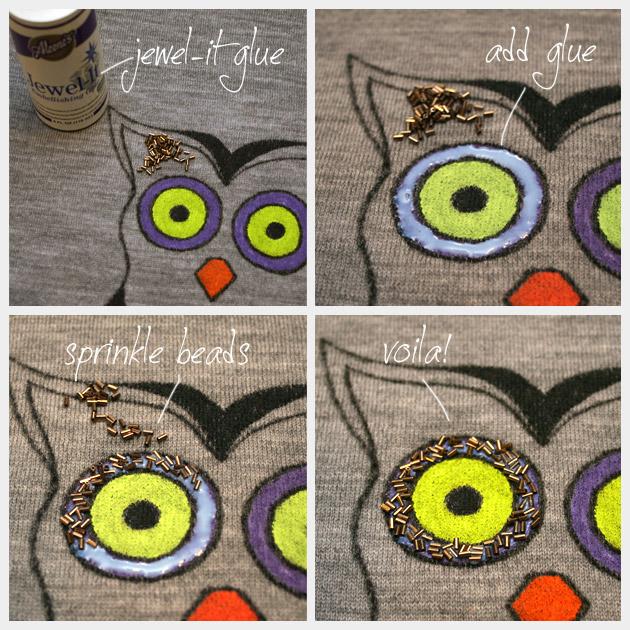 Owl Sweater DIY Adding Beads