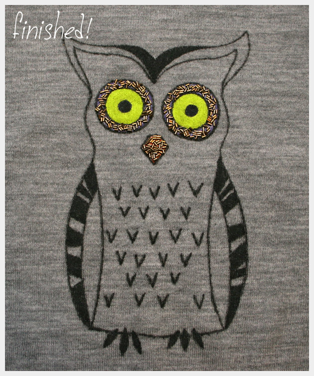 Owl Sweater DIY Finished Design