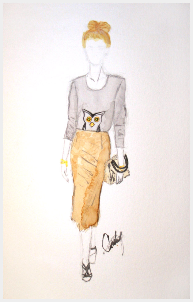 Owl Sweater DIY Watercolor Illustration