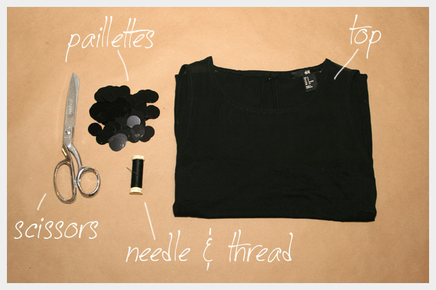 DIY T Shirt with Paillettes Supplies