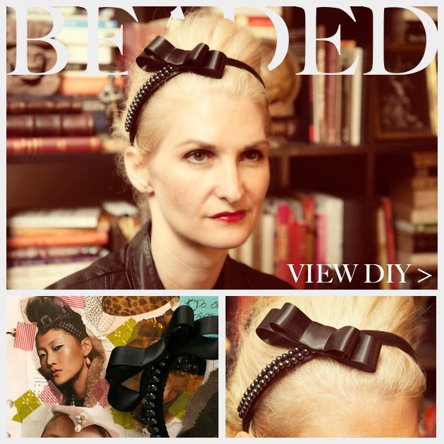 Beaded Bow Headband Feature