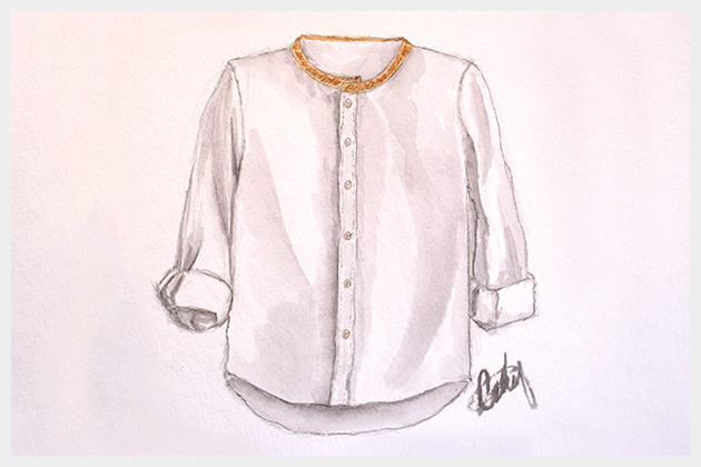 Embellished Shirt Collar Illustration