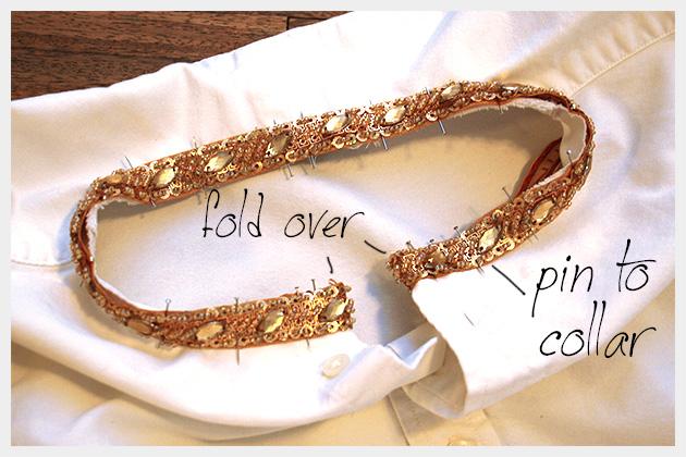 Embellished Shirt Collar Pinned