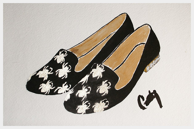 Halloween Spider Loafers DIY Illustration