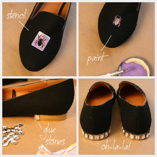 Хэллоуин паук Loafers DIY краска