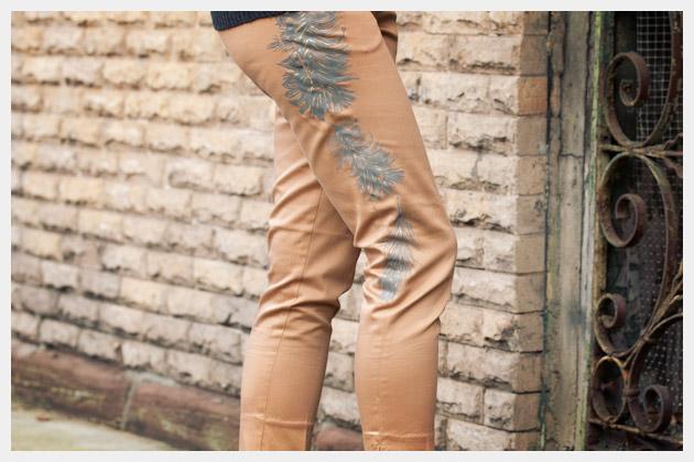 Printed Pants DIY Close Up