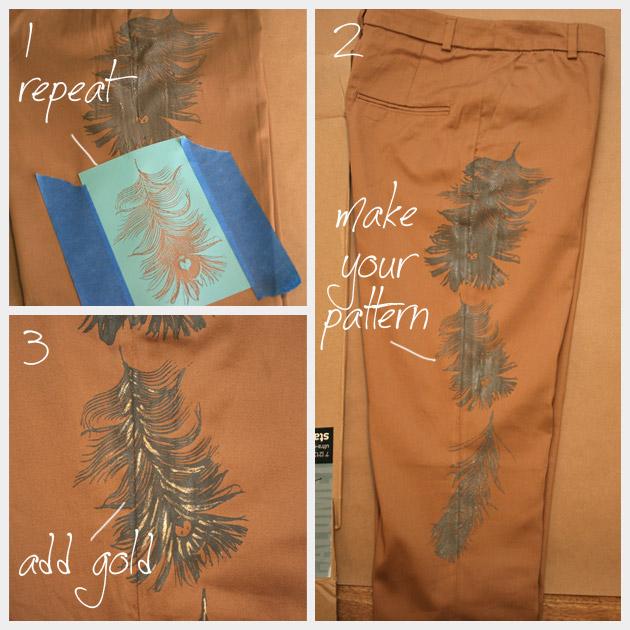 Printed Pants DIY Painted