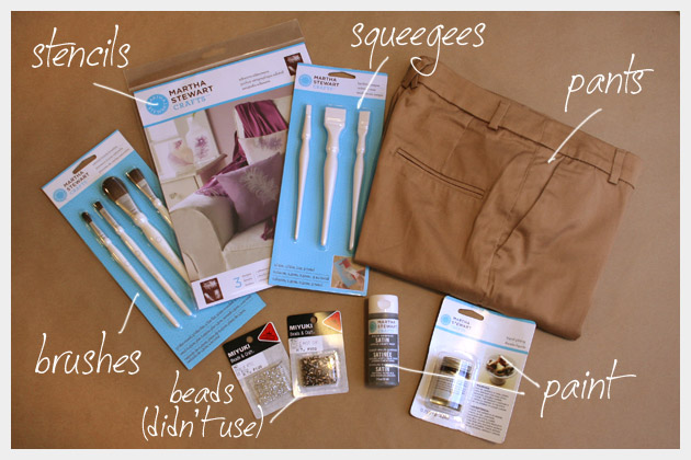 Printed Pants DIY Supplies