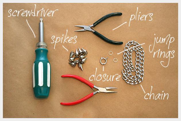 Spike Chain Necklace DIY Supplies