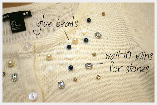 Beaded Sweater DIY Glueing