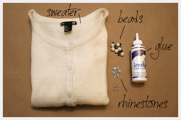 Beaded Sweater DIY Supplies