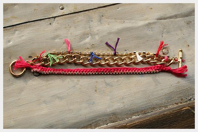 Chain and Rhinestone Bracelet DIY Flat