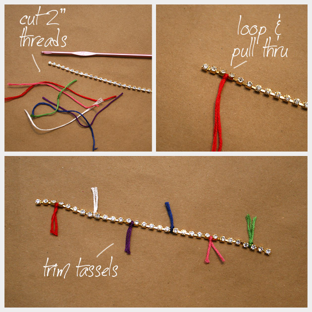 Chain and Rhinestone Bracelet DIY Tassels
