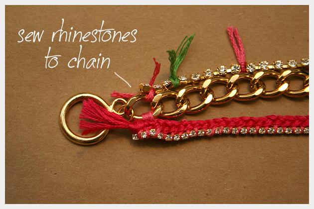 Chain and Rhinestone Bracelet DIY Finishing