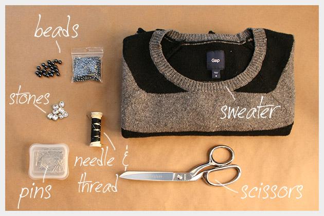 DIY Boyfriend Sweater Supplies