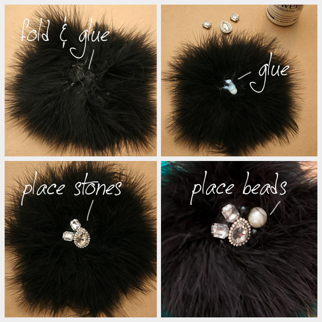 Feather and Rhinestone Pin DIY Steps